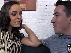 Watch this hot and sexy brunette milf Liza Del Sierra and her twinky hubby who wish to see her getting fucked by a huge black cock of Mandingo.See how this huge black cock fucks her both tight holes while her twinky hubby watches her.