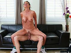 Sex insane whore hops on hard dick and moans with pleasure. Her big fake tits bounce like crazy. Just enjoy watching extremely hot cowgirl sex tube video for free.