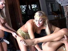 Eager to play girls in superb lesbian masturbation threesome show