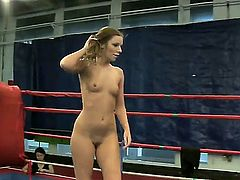 Slutty girlfriends Blue Angel and Debbie White want to prove who is real queen of femdom on the ring