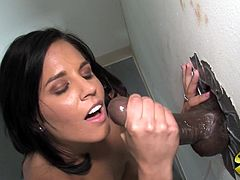 Just look at this gorgeous and kinky brunette. She blows that huge black cock and then this interracial gloryhole makes her stung.