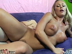 Hot like fire blondie Nicole Aniston gets pounded from behind