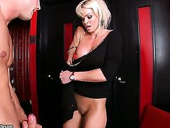 Blonde Rhylee Richards with gigantic knockers groans in sexual ecstasy with hard cocked fuck buddy
