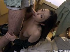 This is how we like our Nippon milfs, obedient and ready to get fucked deep and rough. Have a look at this one, Ryu. She's an older Asian flower with sensual shapes, superb thighs covered by those leather pants and a mouth that deserves a cock fill up. Don't miss her and how she's being mistreated!