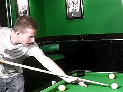 This British fatty was supposed to teach this guy how to play pool, but instead she dressed slutty and seduced him into fucking her. She started with a blowjob.