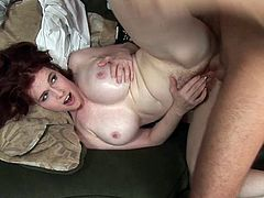 Press play on this hardcore scene and take a look at Mae Victoria's amazing body as she sucks a big cock before you watch this busty redhead riding this guy while wearing high heels.