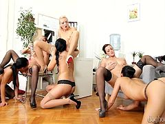 Amazing erotic party with lusty gals eager to stimulate eachother's cramped cherries in a wild session