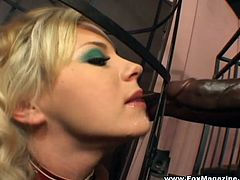 Salacious blonde milf Bree Olson gives a deepthroat blowjob to a black dude. Then she takes his massive black rod in her butt and gets it pounded doggy style.