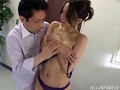 Beautiful Japanese girl Sayuri Honjyou wearing stockings is getting naughty with a guy in an office. She lets the man finger her pussy and they have sex in missionary position.