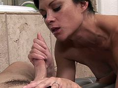 Her hands are creating magic as perky tits beauty strokes it hard in alluring massage spectacle