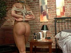 Are you crazy about bondage? Then you´ll definitely wanna see this video! A blonde milf is strongly tied with ropes and fucked hard in the ass. Watch her doing a maid´s house job while being awfully humiliated and used for sex. Click to watch more kinky details!