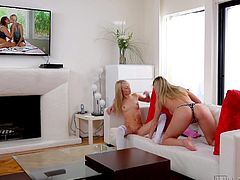 Wanna see a young lesbian couple in intimacy? The camera records every private kinky detail, even the silly ones. Both girls are blonde and have small tits. They gently undress, kiss and make themselves comfortable on the sofa. A pink dildo stands for a nice present. See how much the girl appreciated the gift!