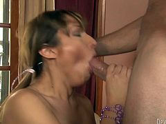 Attractive shemale nanny has got seduced by horny landlord. She slips down the top flashing her tits.Then, the guy thrusts his dick in her mouth so she sucks him balls deep.