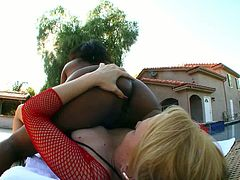 Two full bodied white and ebony lesbians rock the show! Black beauty sits on her girlfriend's face spreading her heavy bum and getting her delicious asshole eaten.