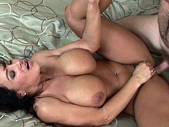 Voluptuous and ready to fuck like always, steamy raven feels massive cock ravishing her creamy fanny