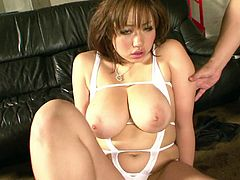 Fuckable Japanese MILF Neiro Suzuka rocks the show with her amazingly voluptuous body. Thick babe sucks and titfucks two hard cocks. babe gets her hairy pussy fucked doggystyle and rides one guy in reverse cowgirl pose at the end.