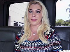 This dirty, tattooed slut was walking along when the bang bus crew spotted her. They invited her to get into the backseat of the van for some fun. She takes off her top and then some crisp bills are flashed in her face. What will she do for the cash?