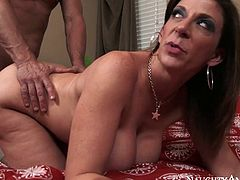 Busty brunette with nice ass and sexy body rides a cock and gets poked hard doggystyle. Have a look at this bab ein Naughty America sex video.
