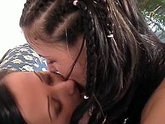 Two hot young lesbians with perky tits and shaved pussies play and have some fun. These two lovers make out and lick one another pussies with a nice solo masturbation with their toys