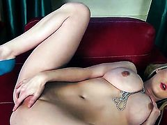 Brook Little with huge hooters and bald pussy bares it all and then masturbates in closeup