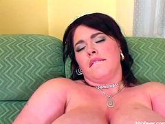 Horny BBW named Sandra is ready to have some fun on her big couch. She spreads legs wide and starts toying herself to experience some super deep orgasms for her fans.