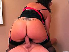 A brunette MILF with big boobs and ass has sex in a hospital. This MILF in stockings and a dress gives a blowjob to a doctor. Then she gets cowgirl fucked.