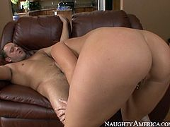 Curvy and sexy babe with nice ass and sexy boobs gets her dripping pussy fucked hard riding the cock in cowgirl pose. Have a look at this babe in Naughty America sex video.