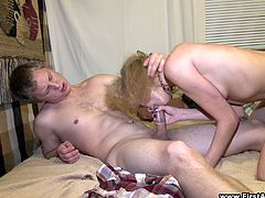 Horny dude Kostya is having fun with titless blonde called Foxy indoors. He fingers the bitch's cunt and then drills her bumhole from behind.