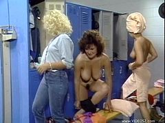 Take a look at this vintage video where these sexy ladies make your dick hard as they have a lesbian moment in a locker room.