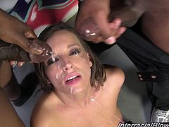 Interracial facial penetration is going on! Sexy Brooklyn Chase gets on her knees and starts sucking the row of some huge black cocks! They are cumming on her.