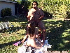 Pretty girl Kara Bare is playing dirty games with a fat man in the garden. She watches him pigging out some food and then sucks his dick and takes it in her pussy.