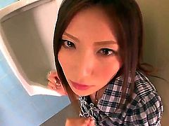 Amazing chick from Japan Yuna Shiina is spending unforgettable time with pretty pal. She shows delights to dude before starting to perform really nice blowjob. Watch the stuff!
