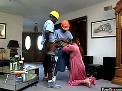 This whorish wife is eager for cum dessert and guzzles two big dicks standing on her knees. It's a time to be pleased with provocative threesome interracial sex tube video.