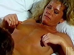 Take a look at this hot vintage video where the slutty blonde Johnni Black is fucked by this guy's big cock until she ends up sucking cum out of it.