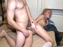 Be part of this reality video where a Russian blonde, with a nice ass wearing socks, gets fucked hard and goes anal for the first time.