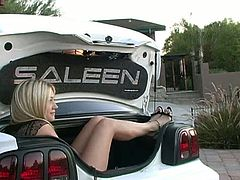 The smoking hot bitch with glasses on looks so naughty. The lustful babe enjoys displaying her twat next to the car, but she likes trying out how it would be to fit into the trunk.