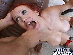 Salacious redhead mom Bailey O'Dare is playing dirty games with a man indoors. She lets the guy face-fuck her and then gets her butt pounded as hard as never.