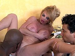 Amazingly rough and nasty hardcore fuck with a black hunk while hubby sits and watches her
