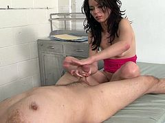 This kinky doctor sucks and licks his sexy patient's feet. She loves it so much she rewards his efforts with a erotic handjob.