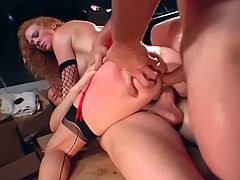 Audrey Hollander is a slut known for her deepthroating skills. She also loves to get double penetrated just like these two guys give it to her. The harder, the better.