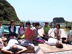 Before this group of sexy Japanese ladies get into the warm water they have to show off their blowjob skills. They have their men lay down on the deck and then get to work on sucking as a crowd forms around them.