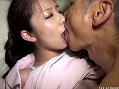 Pretty Asian girl gets fondled and fucked in the missionary position