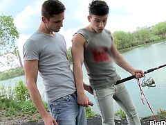 Press play to watch this brunette boy, with a nice ass wearing jeans, while he gets fucked hard by a horny guy after fishing in the lake.