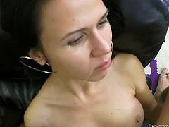 Barely legal black haired honey is very excited about sex with Rocco Siffredi. Cutie strokes his big dick with passion and sucks it with joy on her face. Later Rocco desirably licks babe's young tight asshole.
