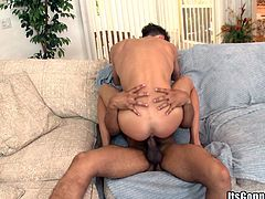 Make sure you take a look at this gay scene where this horny twink sucks on a big black cock before having her tight asshole drilled by it.