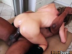 Slut fucks big cock in kitchen