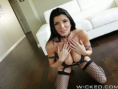Romi Rain is well being known for being a sex starved pornstar. This time wearing sexy outfit and covered with oil, she deepthroat and gag on huge dick and let her shaved pussy fucked hard.