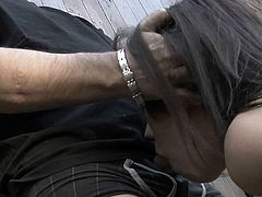 Sexy slim babe fucked while in bondage outdoors