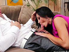 This time Ava Addams is a slutty housewife. Her husband's friend Derrick Pierce doesn't mind from eating tasty cunt of Ava. It her turn Ava treats Derrick's fat dick with amazing blowjob.