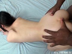 Now, here is an action that you will enjoy watching. FIlthy Japanese girl is going to have a threesome sex with two black men. It's so hot!